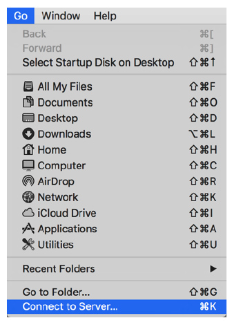 Connect to Server from drop down menu
